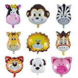 Folienballon Tiere, YIKE 9 Stück Tierkopf Luftballons, Luftballons Tiere Kindergeburtstag - Helium...