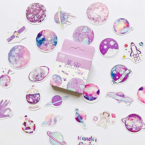 PMSMT 50 unids/Caja Estilo púrpura Hermosos Planetas estrellados DIY Pegatina Palo Etiqueta Diario decoración