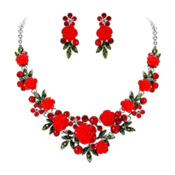 EVER FAITH Crystal Simulated Pearl Rose Flower Leaf Necklace Pierced Earrings Set Red Silver-Tone