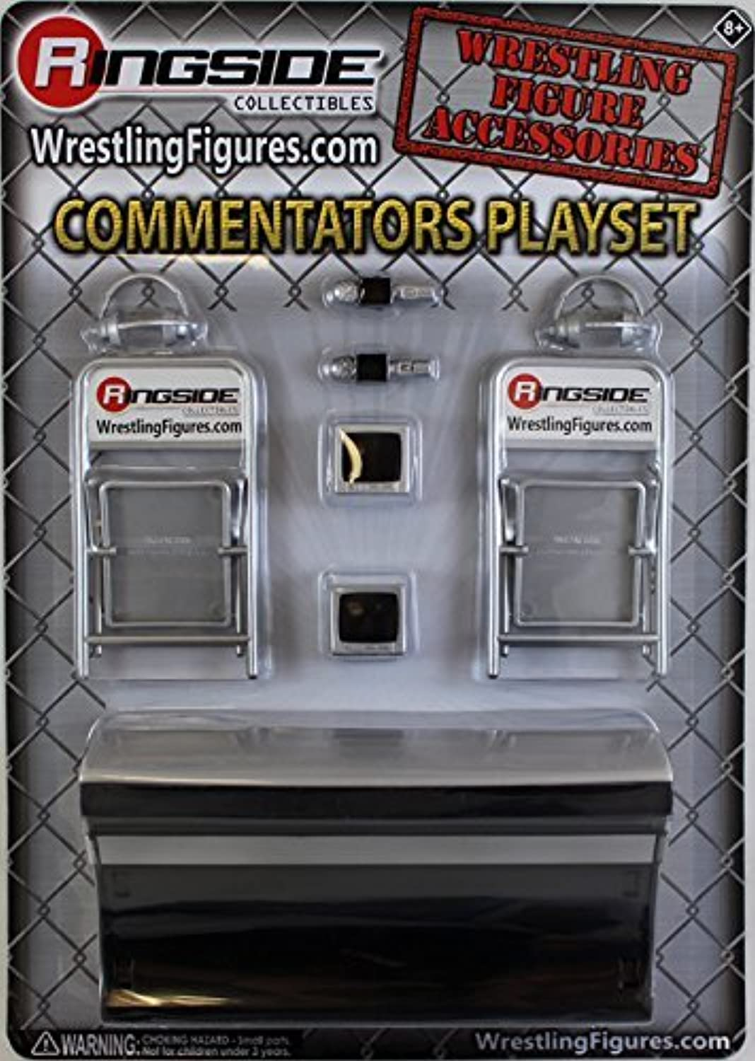 COMMENTATORS PLAYSET (SILVER)  RINGSIDE COLLECTIBLES EXCLUSIVE TOY WRESTLING ACTION FIGURE ACCESSORY PACK by Wrestling