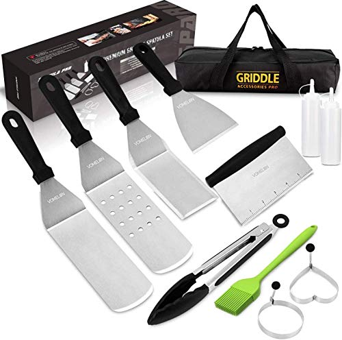 Vomelon Flat top Grill Griddle Accessories Professional BBQ Cooking Kit Hibachi Grill Accessories Dishwasher Safe Spatulas,Egg Rings,Bottles,Scraper,Flipper,Tong, Brush