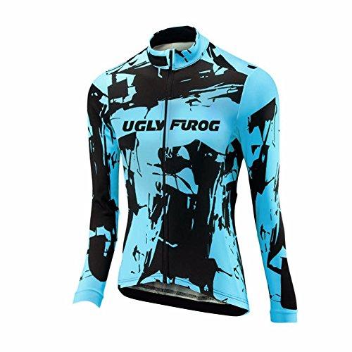 Uglyfrog Último Mujer Warm Ciclismo Mangas Largas Maillots Cremallera Completa Moda Transpirable Winter Cálido Ropa Deportiva
