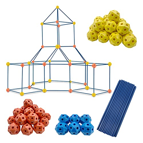 Pomatoy Fort Building Kit for Kids 130pcs Indoor & Outdoor Creative Fort Toy for Boys & Girls Construction Fort Builders STEM Toys DIY Building Castles Tunnels Play Tent Rocket Tower