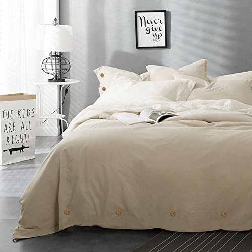 Beige Duvet Cover Set Queen, 3 pc - 90 x 90 Hotel Bed Luxury Hypoallergenic Microfiber Down Comforter Cover with Deco Buttons, Zip, Ties - Best Modern Style for Man and Women(Queen, Beige)