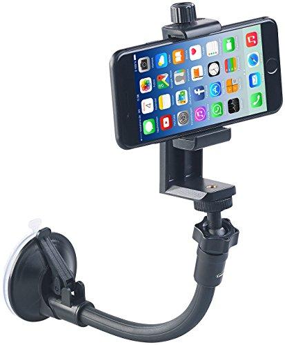 PEARL Saugnapf Stativ: Flexibles Kamera-Stativ mit Saugfuß und Universal-Smartphone-Halterung (Klemmstativ)
