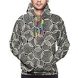 NigtafeColla Sudadera con capucha para hombre, composición abstracta monocromática con flores y hojas laminadas, 3XL