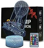 3D niños luz nocturna bus de batalla 16 colores con control remoto 3D ilusión juguete luz noche, regalos para niños de 4 5 6 años más