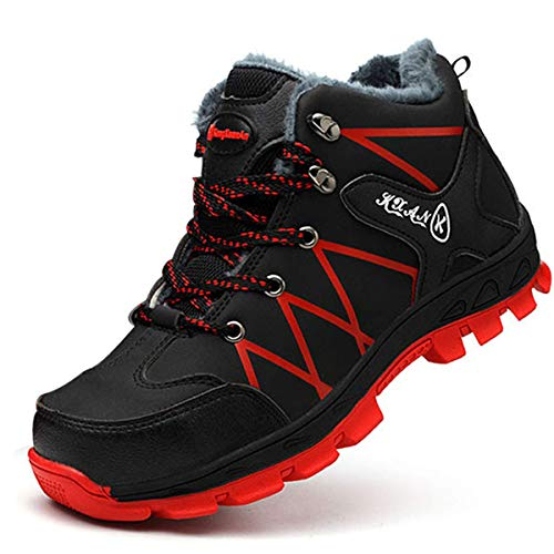 SROTER Mujer Hombre Invierno Botas de Seguridad Trabajo Zapatillas con Puntera de Acero Impermeables Botas de Nieve Zapatos de Trabajo Entrenador Unisex Zapatillas de Senderismo ✅
