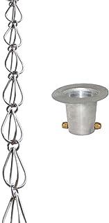 Monarch Aluminum Teardrop Rain Chain with Aluminum Gutter Reducer, 8-1/2-Feet Length