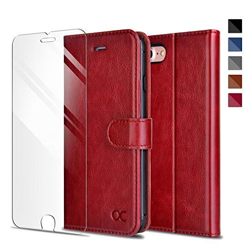 OCASE Kompatibel mit iPhone SE 2020 Hülle iPhone 8 Handyhülle iPhone 7 Hülle [Gratis Panzerglas Schutzfolie] Premium Leder Kartenfach Brieftasche Case Tasche mit Kartenfächer und Bargeld Red