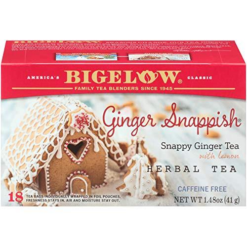 Bigelow Ginger Snappish Herbal Tea Bags,18 Count Box (Pack of 6) Caffeine Free Herbal Tea, 108 Tea Bags Total