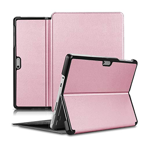 Olixar para Microsoft Surface Go 2 Folio Case - Flip Folio Kickstand PU Funda de cuero - Oro rosa