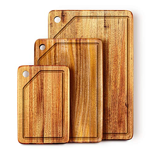 KARRYOUNG Acacia Wood Cutting Board (Set of 3) with Juice Grooves - Wooden Chopping Board for Meat, Vegetables, Fruit & Cheese