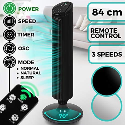 Oszillierender Turmventilator 45 W | mit 3 Geschwindigkeitsstufen, Fernbedienung, bis 7.5 Stunden Timer und 70° Oszillationsfunktion | Säulenventilator Standventilator Tower Ventilator (Schwarz)*