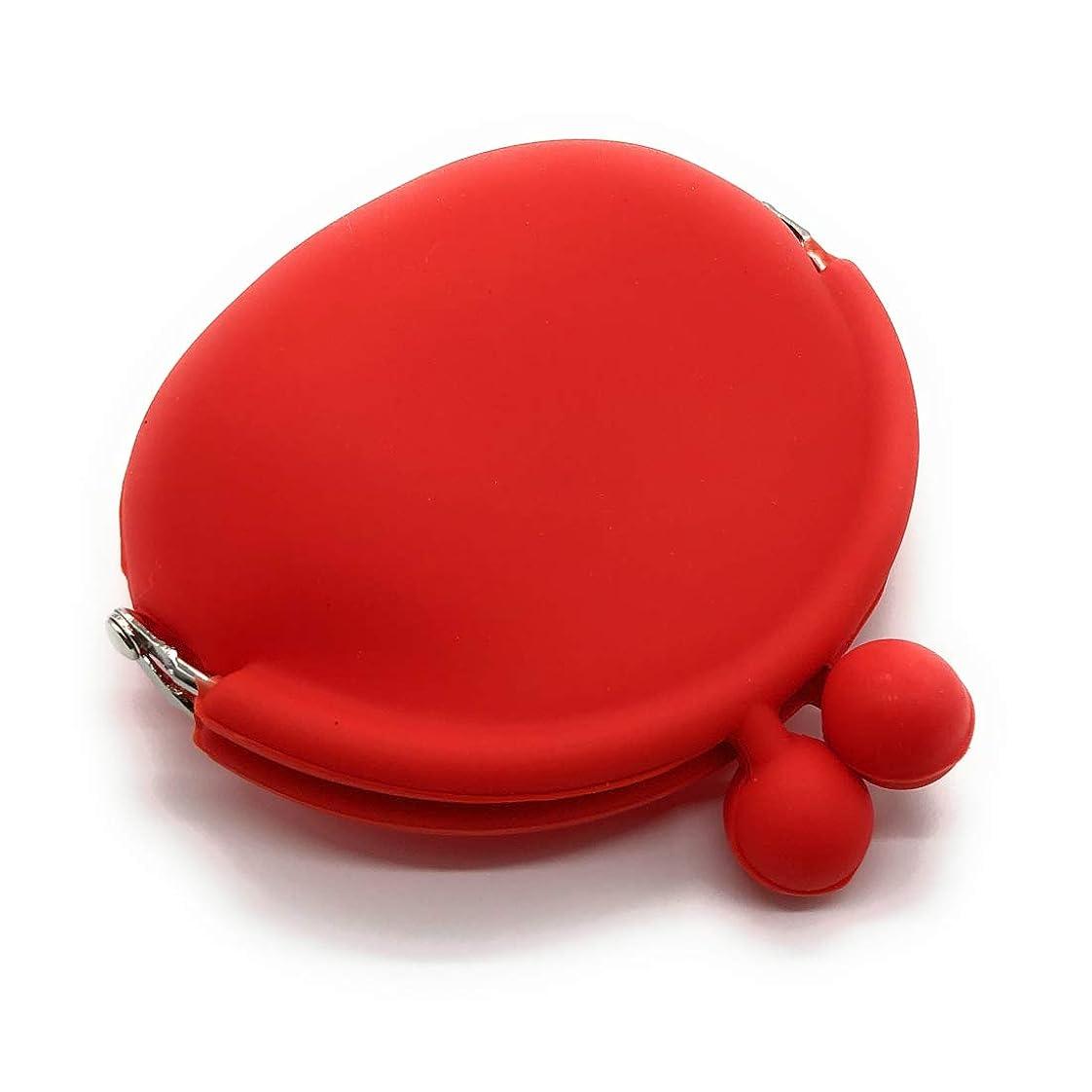 不良品記述するハチA-CRAFT シリコン 小物入れ がま口 財布 ポーチ 小銭入れ アクセサリー 収納 カラー多数 (レッド)