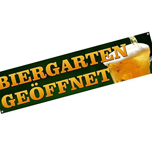 KDS Biergarten geöffnet Spannbanner Banner Werbebanner 2 x 0,5 Meter Plakat