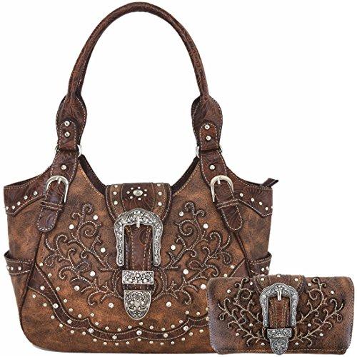 Western Style Concealed Carry Purse Buckle Country Large Handbags Messenger Shoulder Bag Wallet Set Brown