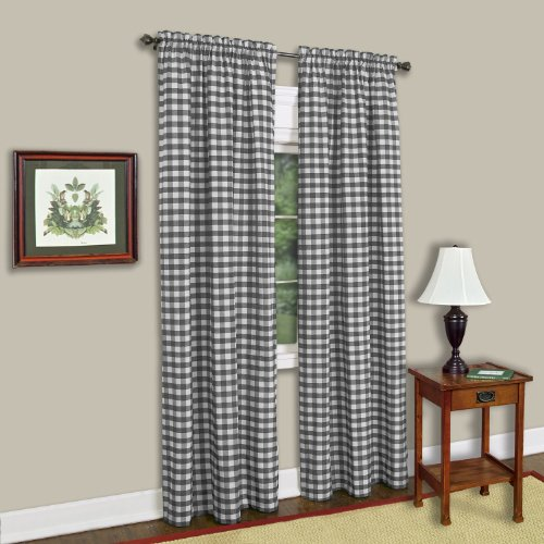 "Achim Home Furnishings Single Panel Buffalo Check Window Curtain, 42"" x 84"", Black & White"