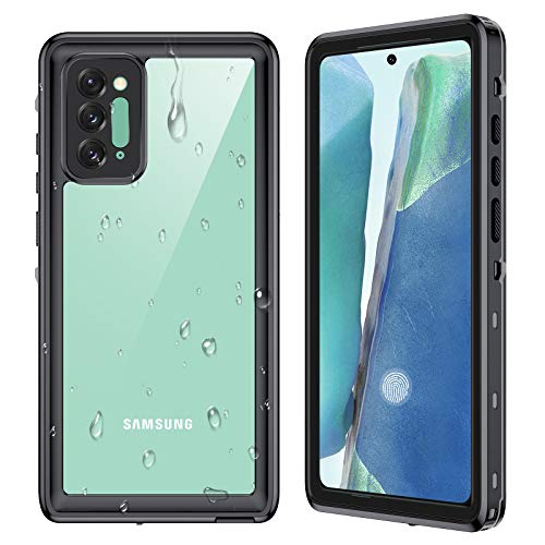 Ruky Samsung Galaxy Note 20 Case Waterproof, Underwater Full Body with Built-in Screen Protector Clear Sound Quality Heavy Duty IP68 Waterproof Case for Samsung Galaxy Note 20 6.7 inch, Black