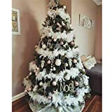 panthem 5PCS 2M Christmas Tree White Feather Garland Fluffy Boa, Strips White Feather Boa's for Xmas Tree Decoration Indoor or Outdoor