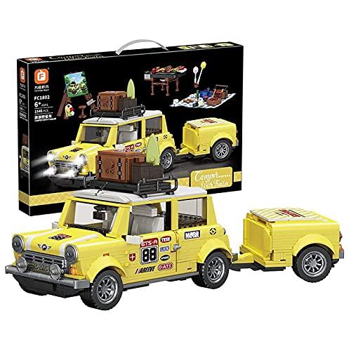 Technic Sportwagen Auto, Romantisches Touristen-Picknick-Auto ModellBauset Rennwagen Bausteine Wohnkultur DIY Bausatz Kompatibel mit Lego Technic(1546 Klemmbausteine ) Static