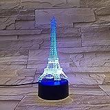Paris Romantique Tour Eiffel 3D LED USB Eclairage Décoratif Fête Ambiance Veilleuse...
