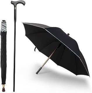 Saiveina 2-in-1 Separable Walking Stick Umbrella, Windproof UV Protection Cane Umbrella (ZCD02 - Black)