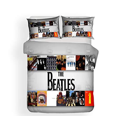Earendel Copripiumino dei Beatles Set Biancheria Letto Gruppo Rock Britannico 2/3/4PCS Copripiumini/Lenzuola/Federe,Singolo,Matrimoniale,King (3,Singolo-140×210cm(3PCS))