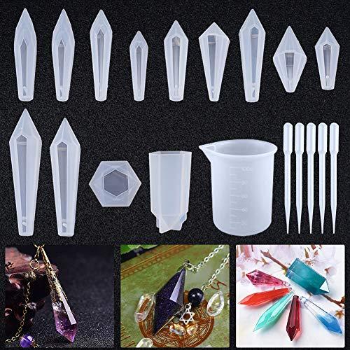 Calistouk 13pcs Moldes de Resina de Silicona de joyería de Resina de Cristal de Cuarzo Transparente moldes Colgantes con Forma de Piedras Preciosas de múltiples facetas epoxi Colgante