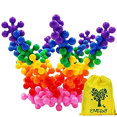 EMIDO Building Blocks Kids Educational Toys STEM Toys Building Discs Sets Interlocking Solid Plastic for Preschool Kids Boys and Girls, Safe Material for Kids - 120 Pieces with Storage Bag from EMIDO