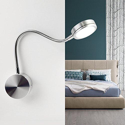 YU-K gepersonaliseerde muur woonkamer bedlampje muur restaurant muur n, set het kniestuk met leeslamp studielamp wand n,zilver 3W wit licht zonder schakelaar