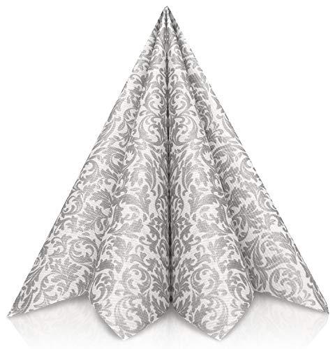GRUBly Servietten Silber | Stoffähnlich [50 Stück] | Hochwertige Silberne Servietten, Tischdekoration für Weihnachten, Hochzeit, Geburtstag, Feiern | 40x40cm | AIRLAID QUALITÄT