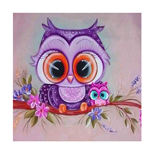 Owl 5D Diamond Painting Kits Full Drill for Kids Adults Animal 5D Diamond Art Kits Full Drill for Kids Animal 5D Gem Picture Kits for Children Round Resin 30x30cm/11.81x11.81inch
