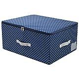 AMX Caja de Almacenamiento apilables de Nylon Lavable con Tapa con Cremallera, Contenedores Plegables para Guardar Ropa, Azul Marino