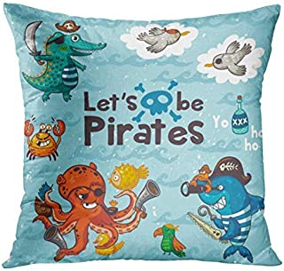 MurielJerome Let is Be Pirates Sweet with Crocodile Octopus Shark Crab Seagulls Parrot and Bottle of Rum Awesome Child Pillow Case Home Decor Square 16x16 Inches Pillowcase Cushion Cover