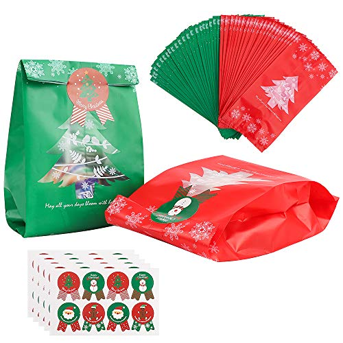 100 PCS Bolsas de Regalo Navidad con 40 PCS Pegatina,Gran Capacidad Bolsas de Papel Navideñas Bolsas de Regalo Caja de Papel de Navidad Fácil de Plegar para Decoraciones Navideñas