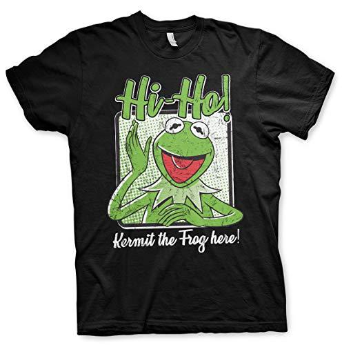 Offizielles Lizenzprodukt Hi-Ho - Kermit The Frog Here! Herren T-Shirt (Schwarz), Small