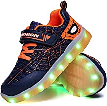 YUNICUS Led Shoes for Kids, Boy's Breathable Sneakers Casual Sport Led Light Up Shoes (Little Kid 11M, Blue/Orange)