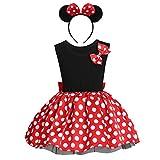 Princesa Disfraz de Minnie para Bebé Niña Navidad de los Lunares del Vestido del Tutú de Tul Cumpleaños Fantasía Infantiles Vestido Carnaval Bautizo Ballet Baile con Diadema Rojo + Negro 01 4-5 Años