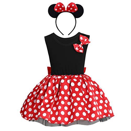 Princesa Disfraz de Minnie para Beb Nia Navidad de los Lunares del Vestido del Tut de Tul Cumpleaos Fantasa Infantiles Vestido Carnaval Bautizo Ballet Baile con Diadema Rojo + negro 01 18-24 mois