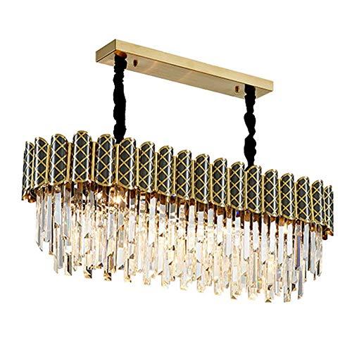 RTYUIO Lámpara de araña de Lujo de Cristal K9, lámpara de Techo Dorada Rectangular Moderna E14 Lámpara Colgante Regulable para Sala de Estar, Comedor, salón-Dorado 95x31cm (Dorado 95x31cm)