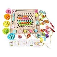 T TOOYFUL 教育木製おもちゃ幼児、磁気釣りゲーム木製ボードビーズゲーム、マッチングゲームメモリおもちゃ
