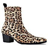 Botines Chelsea de Hombre Bota de Leopardo de Pelo de Potro con Botas de tacón con Cremallera Lateral OS-JY012-light-brown-A-10.5