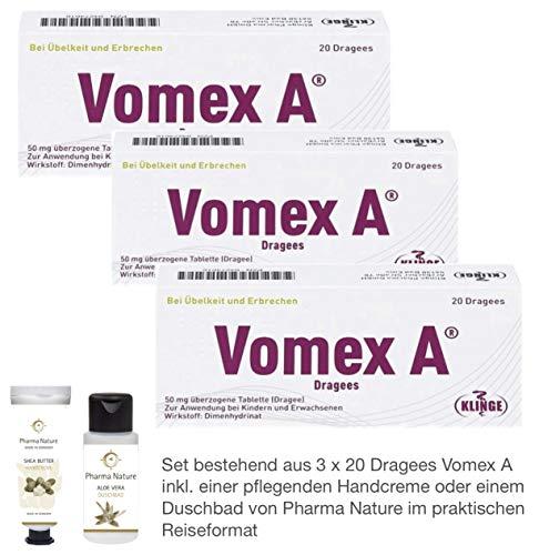 Vomex A Dragees 3 x 20 Stück Sparset inkl. einer pflegenden Handcreme o. Duschbad von Pharma Nature