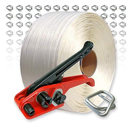 Textil Umreifungsset 19 mm, 600 m Umreifungsband, 150 Metallklemmen, Bandspanner bis 19 mm