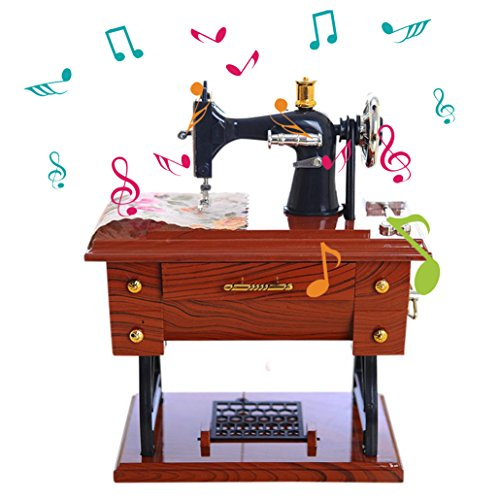 Aimik Sewing Music Box, Vintage Music Box Mini Sewing Machine Style Mechanical Birthday Gift Table Decor