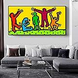 GJQFJBS Graffiti Art Poster e Stampe su Tela Quadri Astratti su Tela Dipinti su Tela Keith Haring Art Pictures Home Decor Replica (Senza Cornice) 70X120cm