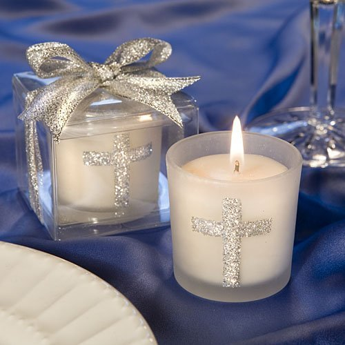 Silver Cross Themed Candle Favors, 30