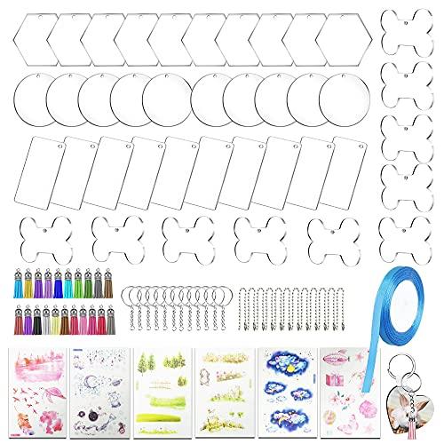 Allazone 107 Pz Discos Acrilicos Transparente, 4 Forma Discos de Acrílico Transparente Redondos, Llavero, Mini Borlas, Cadena de Bolas y Adhesivo para Proyectos y Manualidades de Bricolaje