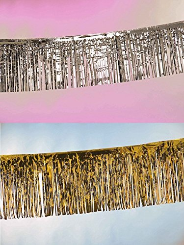 Folat Party-Banner mit Fransen, 6 m, goldfarben